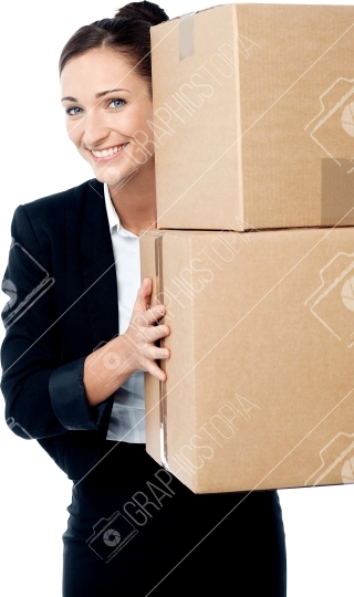 Woman Holding Boxes